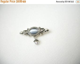 ON SALE Vintage AAI Signed Silver Tone Moon Glass Stone Bar Pin 5917