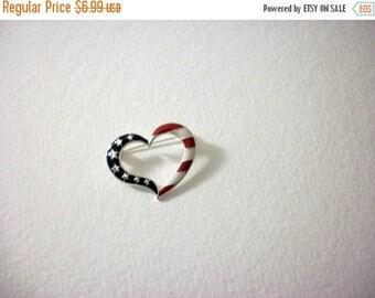 ON SALE Vintage AVON Silver Tone Enameled Patriotic Heart Pin 8616