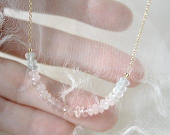 Necklace with Aquamarine and morganite in beautiful pastel colors chain with Aqua Marine and Morganite in beautiful pastel colors