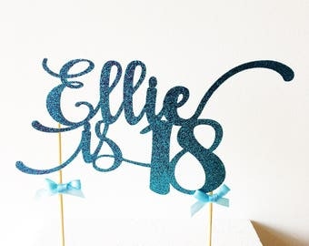 18th Birthday Cake Topper, Eighteen, 18, Eighteenth, Custom Name, Age, Colour, Glitter Topper, Celebration Cake Topper, Party Cake Decor