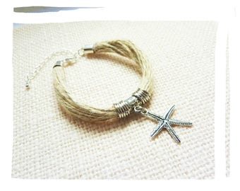 Natural summer bracelet hemp and star charm starfish