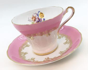 Royal Stafford Hot Pink and White Tea Cup - Pink Floral Tea Cup and Saucer Set - English Teacup Set- Gifts for Her