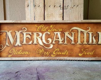 Antique Wood Old Town Mercantile sign! Free-handed! Vintage sign. Trade sign. Primitive. Victorian. Dry Goods.