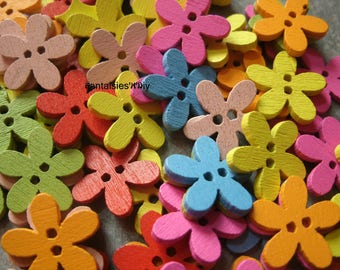 (BTB9) Set of wooden flower shape buttons dyed multicolor 15mm by 10