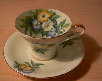 Aynsley corset shape tea cup and saucer in mint green with florals