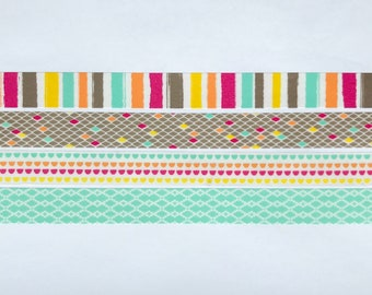 "Diamonds Washi Tape Sample Set - 24"" sample - Scotch Washi Tape - Blurred Lines, Funky Dots, Weave"