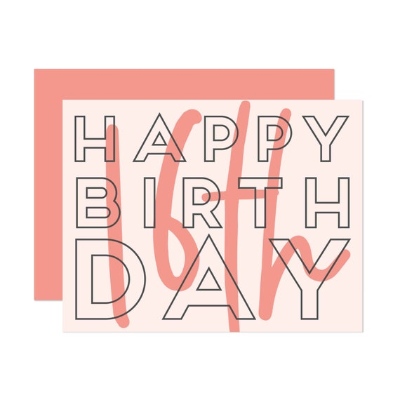 Blush Sweet Sixteen - Happy Birthday Card