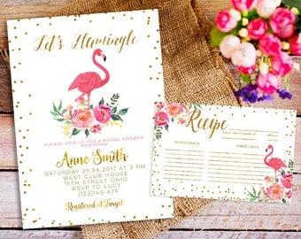 Printable invitations Let's flamingle bridal shower, flamingo invitation pink and gold watercolor invitation, Flamingo Party, Wedding Shower