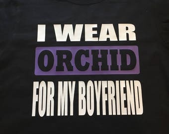 Testicular Cancer Awareness. Testicular Cancer Tshirt. Testicular Cancer Support. Orchid Ribbon. I Wear Orchid for my Boyfriend