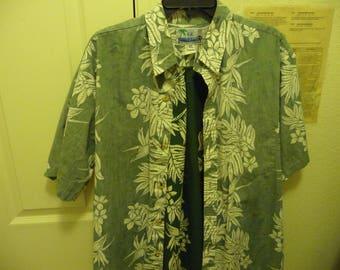 Vintage RJC Men's Hawaiian Aloha shirt XL S/S distrested look 100% Cotton