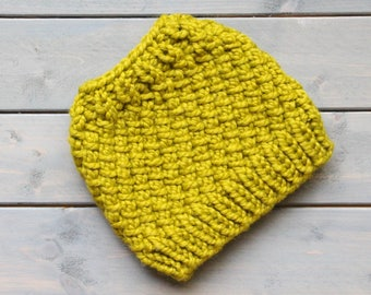 READY TO SHIP Messy Bun Hat, Knit Ponytail Hat, Running Headband, Running Hat, Lemongrass