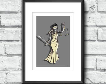 Skull art: Skeleton Lady Justice Print Wall art