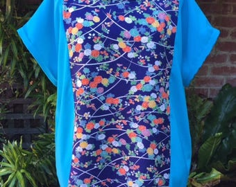 Blue Floral Loose T-shirt, Top, Blouse featuring Upcycled Vintage Japanese Kimono Silk