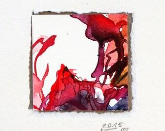Miniature (105), watercolor, individual gift, abstract art, red, miniature, original watercolor, minibild, small gift, quatratic,plant