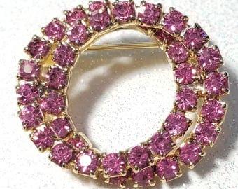 Vintage Double loop Pink Rhinestone Pin Brooch