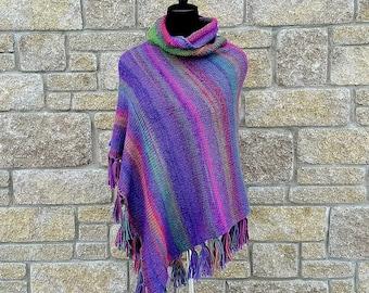 Crochet poncho | Poncho | women ponchos | knitted poncho - hand knit poncho - wool poncho - boho clothing - rainbow poncho - boho poncho