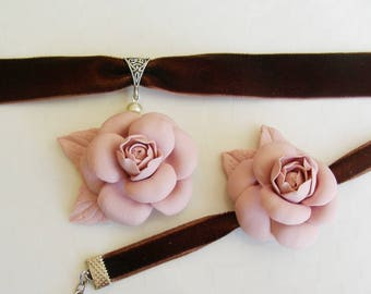 Jewelry Jewelry Sets  Rose chanel  Necklaces Chokers Charm Bracelets  polymer clay  A gift for her