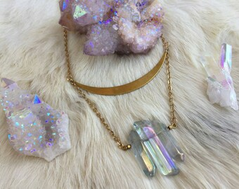 Golden Crescent Aqua Angel Aura Quartz Necklace