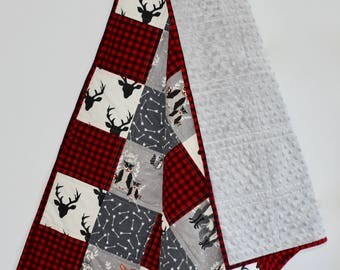 Lumberjack crib quilt, woodland, buffalo plaid, red, gray, black, black bulkhead, antlers, deer, hunting, patchwork