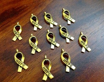 Bulk 50 Hope Ribbon Charms, Antique Gold Charms, Ribbon Charms, Hope Ribbon Charms, Awareness Charms, Jewelry and Craft Supplies, Findings