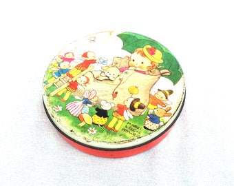 "Mabel Lucie Attwell Tin, Girl in Boot, Could Be 'There was an old woman who lived in a shoe' Small Round Tin, Vintage Sweetie Tin 5"" x 1.25"""