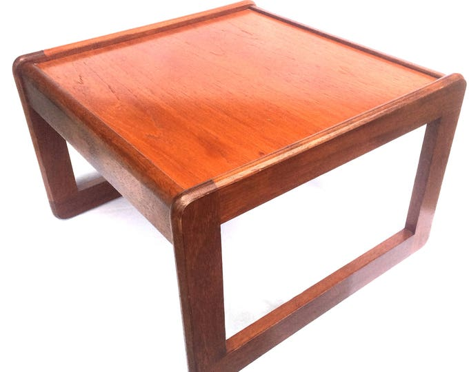 """Mid Century G Plan Square Table, 1960's Solid Teak Geometric Shape Coffee Table, 16.5"""" x 16"""" x 11, Retro Turntable / Record Player Table"""