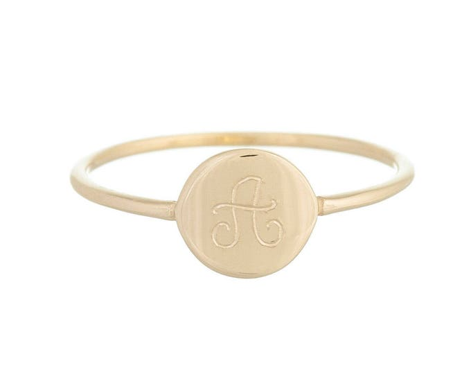 Coin Initial Ring 14Kt