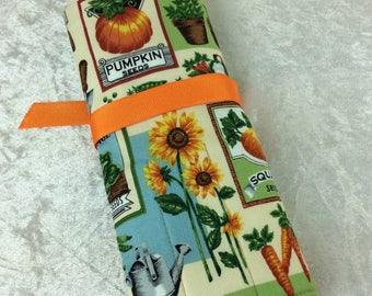 Seed Packets Gardening Makeup Pen Pencil Roll Crochet Knitting needles tool holder case  Handmade in England