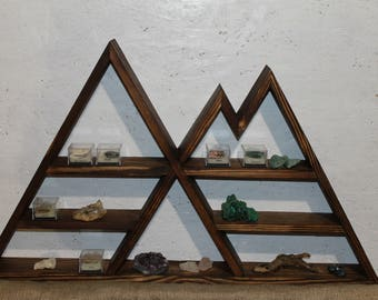 mountain shelf wooden shelf triple shelf curio shelf peak shelf minerals shelf geometric shelf crystal display rustic shelf pyramid shelf