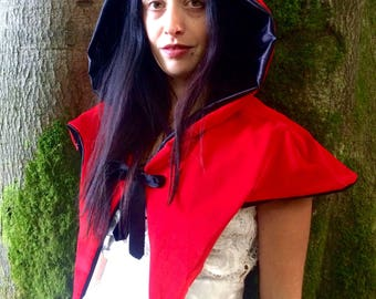little red riding hood/ red riding hood cape/ red cape/red cloak/ red hooded capelet/fantasy cape/ velvet cloak/hallowe'en/halloween costume