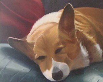 Corgi dog original oil painting