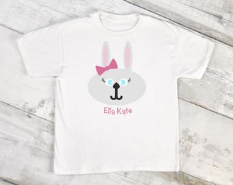 Bow on Easter Bunny/Personalized Easter Shirt/Gray/Toddler Shirt/Easter Basket/Bunny ears/Easter Outfit/Egg Hunt/Easter Gift/Easter Clothes