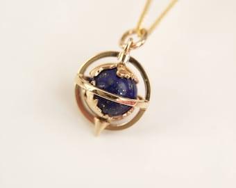 8mm Lapis Globe Pendant Yellow Gold Globe Necklace Lapis Globe Charm Purple Stone Globe Necklace Planet Charm Planet Necklace Planet Pendant