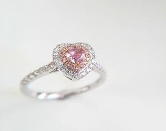 0.28 Carat Pink Diamond Engagement Ring Pink Stone Engagement Ring Pink Stone Ring Heart Diamond Ring Heart Pink Diamond Ring