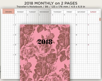 B6 2018 Monthly View Grid - Traveler's Notebook Printable Insert - Mo2P
