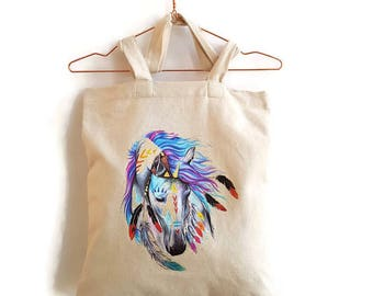 Tote bag Horse, tote bag with horse, shopper with horse, shopping bag, totebag Ibiza style, bag Ibiza style, totebag horse feathers.