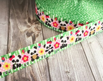 Panda ribbon - Paw print ribbon - Animal ribbon - Grosgrain ribbon - Cute ribbon - Panda theme - Baby shower ribbon - Crafting ribbon - DIY