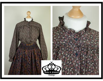 70s Black Miniature Paisley Print, Floaty, Frilly, Prim, Long Sleeve, Smock Blouse, Size L / XL
