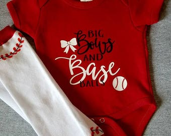 Big Bows and Baseballs Onesie