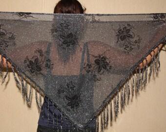 Black silver scarf metallic shawl fringed shawl bohemian shawl lurex gypsy shawl silver metallic triangular shawl evening scarf Belly Dance