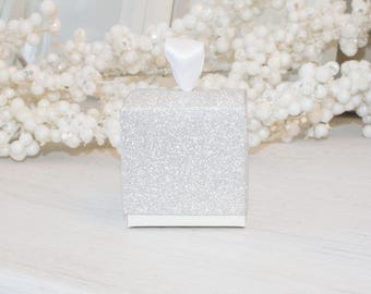 """Silver Glitter Favor Boxes Sparkling Single Cupcake Boxes, Wedding Birthday Gift, Square box 10 boxes, Party Decorations Supplies 4x4x4"""""""