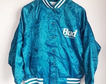 CLEARANCE SALE 35% Vintage 80s Budweiser King Of Beer Satin Jacket