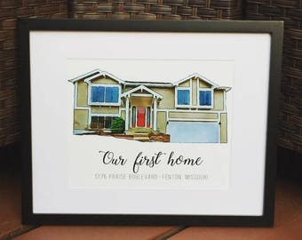 Watercolor Family Home Picture - Watercolor - House - House Photo - Family - Gift for her - Gift for him - First Home Gift - Wall Decor