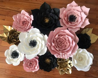 12 pc Paper Flowers, nursery, toddler room, home decor, Panda Theme, Customize your colors