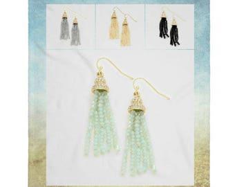 Crystal Rhinestone Faceted Bead Tassel Earrings, Dangle Statement Earrings, Crystal Tassel Earrings