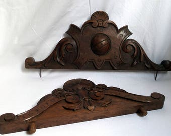 Carved wooden ornaments / two pieces of furniture / antique buffet Cabinet pediment / french rustic decor / craft and popular
