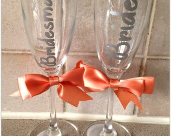 Wedding Day Bride Bridemaid Maid of Honour Bow Champagne Flute Glass