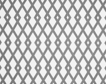 Decorator Fabric by the Yard - Graphic Fret Greystone - by Robert Allen