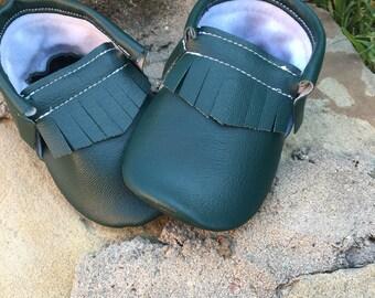 Forrest Green Moccasins - Handmade Moccs // Baby Moccs // Moccasins // TEXAS MOCCS // Baby Moccasins // Crib Shoes