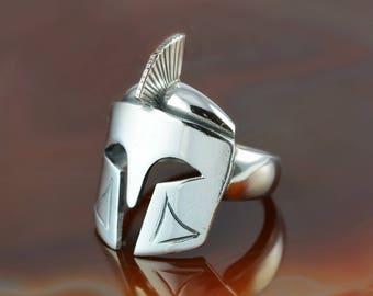 Leonidas helmet silver ring, Spartan helmet ring, Greek warrior ring, Leonidas helmet, men's ring, ring for a man, 300 Spartans ring